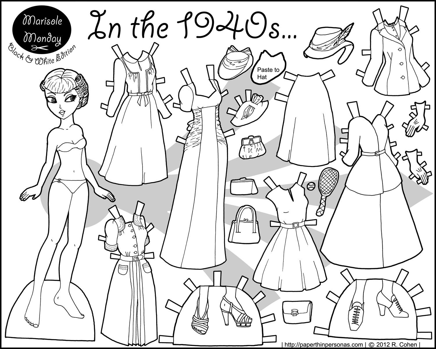 In The 1940s Paper Doll Coloring Page Paper Dolls Paper Dolls Clothing Free Printable Paper Dolls