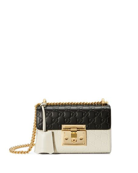bc49d79a28a7 GUCCI Padlock Mini Guccissima Colorblock Shoulder Bag, White/Black. #gucci # bags #shoulder bags #lining #suede #