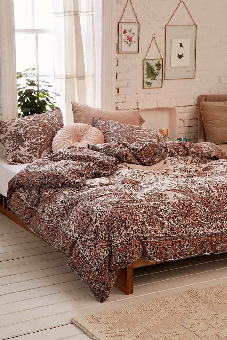traditional topped set sham bedroom comforter decor with bedspreads orange bold print tapestry urban woven cover duvet style floral outfitters cotton medallion