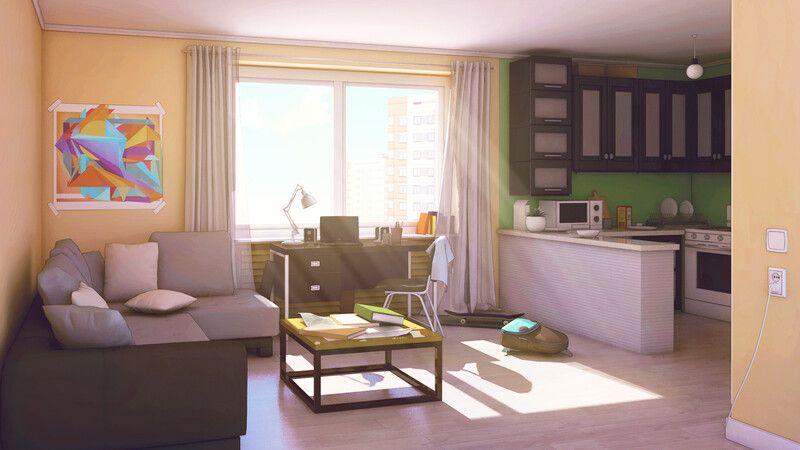 Pin On Escenarios Animados Living room anime apartment background