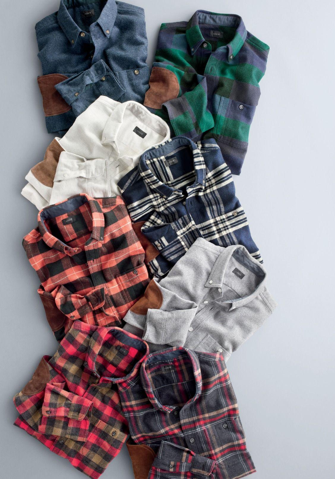 Flannel jacket with elbow patches  JCrew menus elbowpatch shirts  Menus Fashion  Pinterest