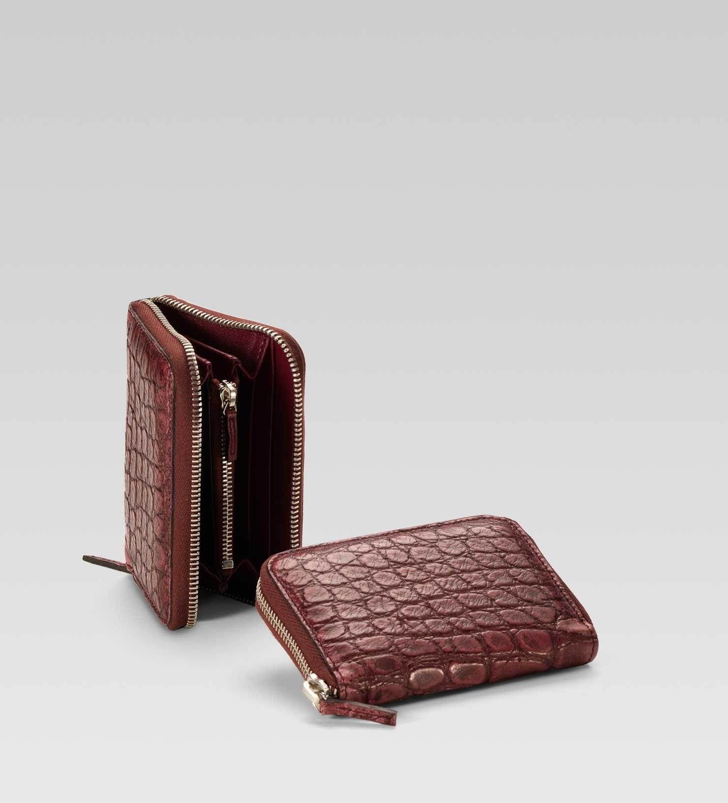 Gucci card case cherry color crocodile wallet fashion