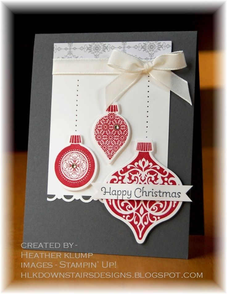 "stampin up ornament keepsake card ideas | Ornament Keepsake with paper pierced ""strings."""