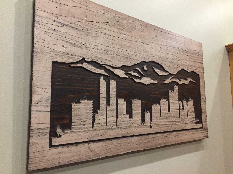 Denver Skyline Art Wood Carved Wall Art