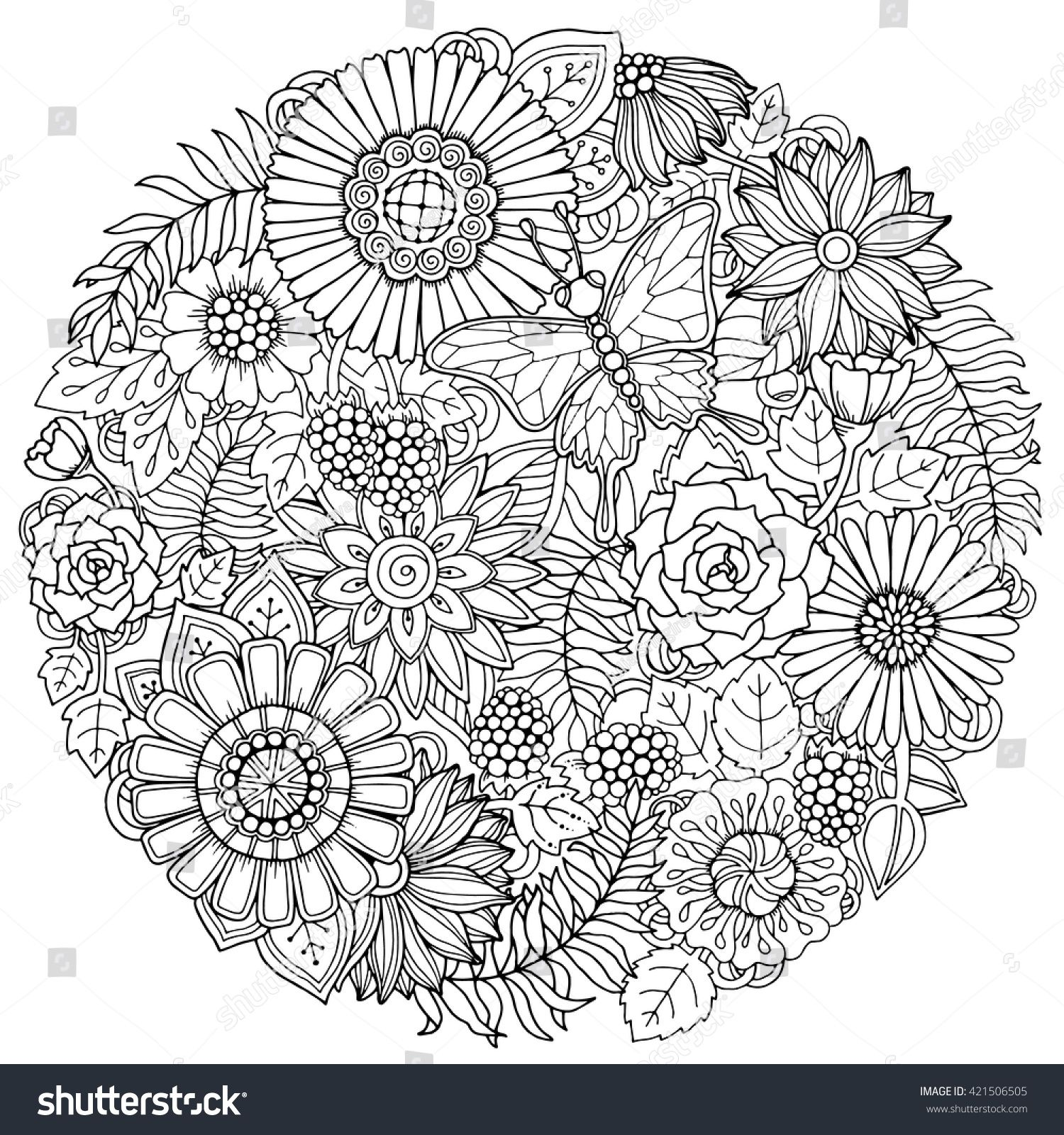 Circle Summer Doodle Flower Ornament With Butterfly Hand Drawn Art Floral Mandala Black And White Background Flower Doodles Hand Art Drawing Mandala Coloring