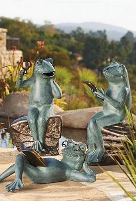 Exceptional Socializing Frog Statues.