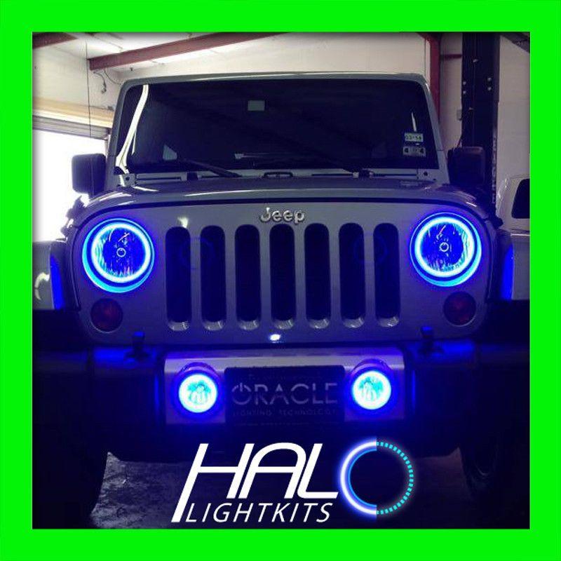 2007 2014 Jeep Wrangler Blue Plasma Halo Headlight Light Kit 2 Rings By Oracle Jeep Wrangler 2014 Jeep Wrangler Jeep