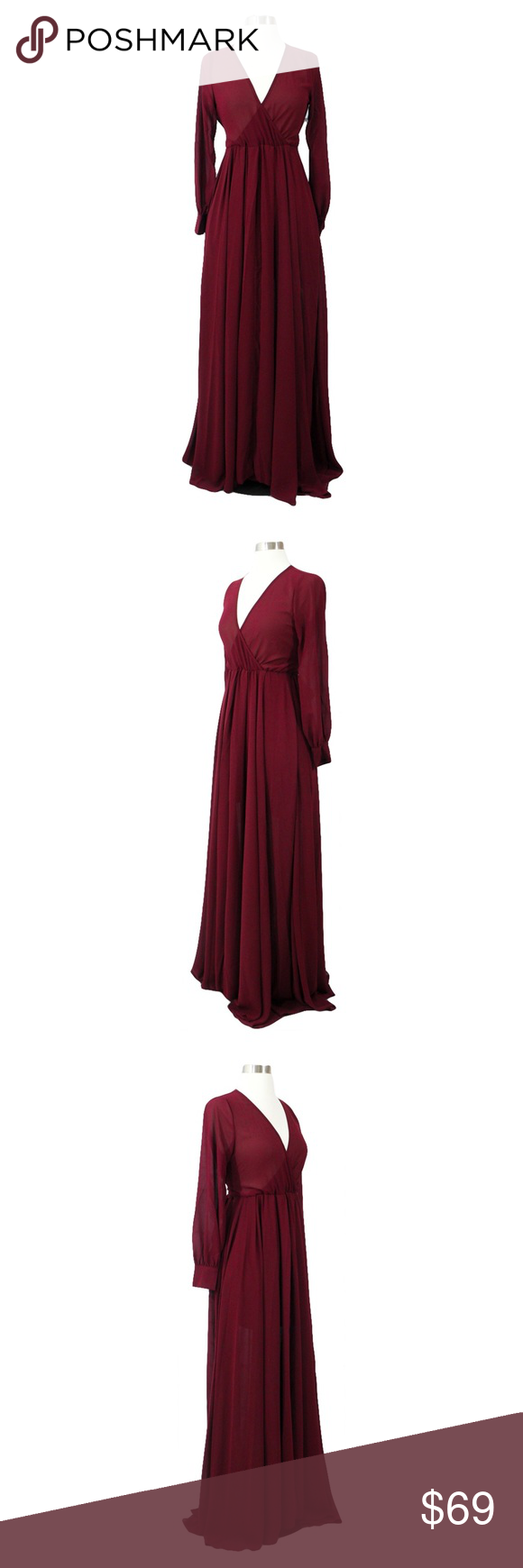 Final priceburgundy red chiffon maxi dress boutique plunge