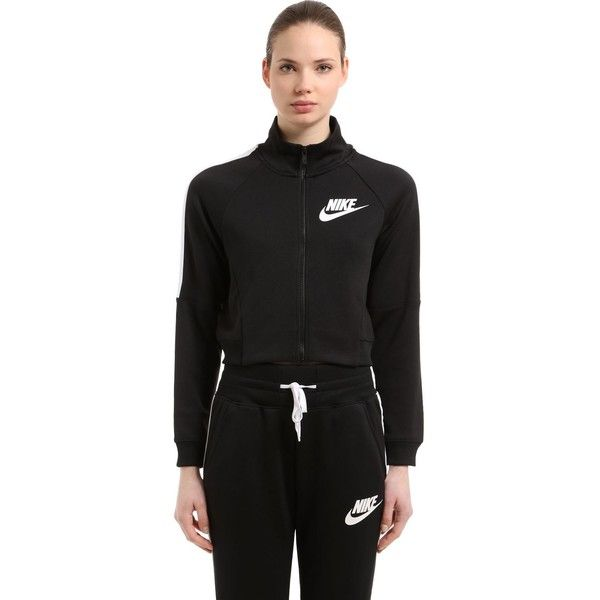 Nike Women N98 Cropped Polyknit Track Jacket ( 95) ❤ liked on Polyvore  featuring activewear dd88aec850