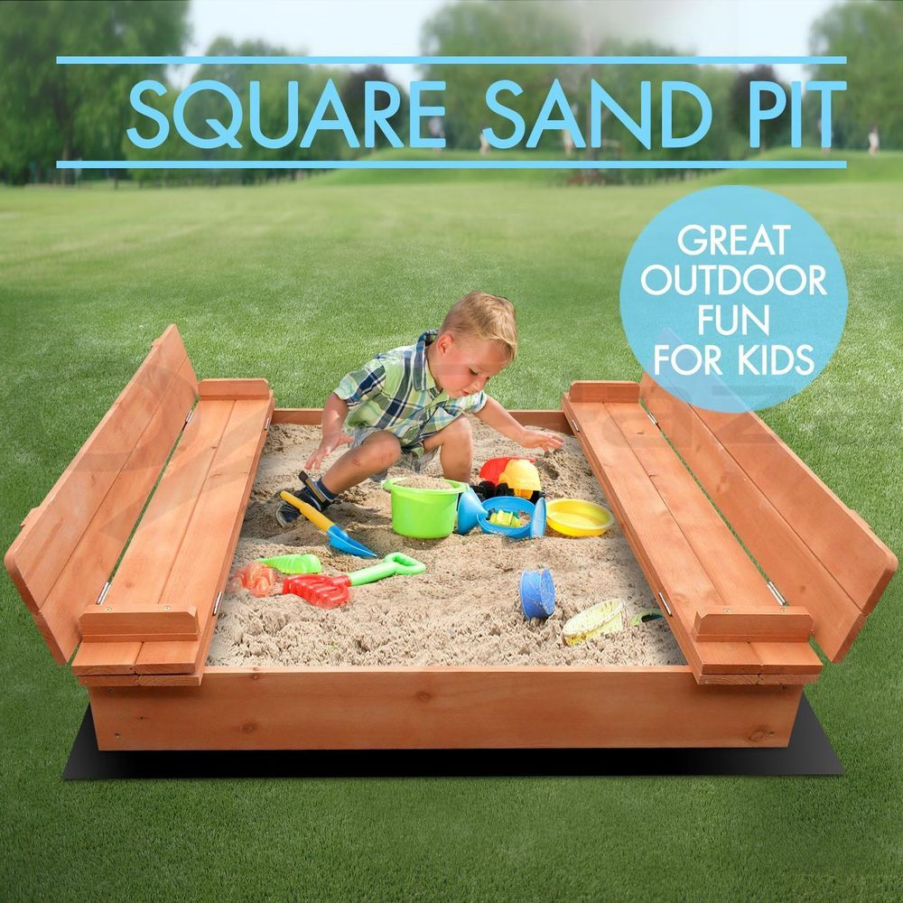 square sand pit kids wooden outdoor play set sandpit beach toy box
