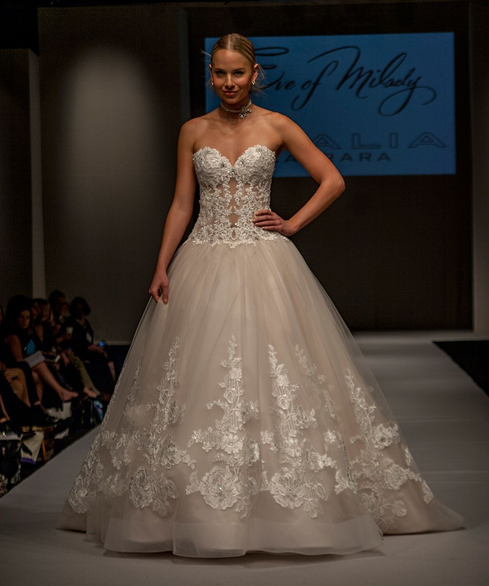 Bridals by lori eve of milady 0130202 in store httpshop eve of milady couture wedding dresses style 4345 ivoryblush strapless lightly beaded lace sheer bodice with matching ballgown skirt with trailing hand ombrellifo Choice Image