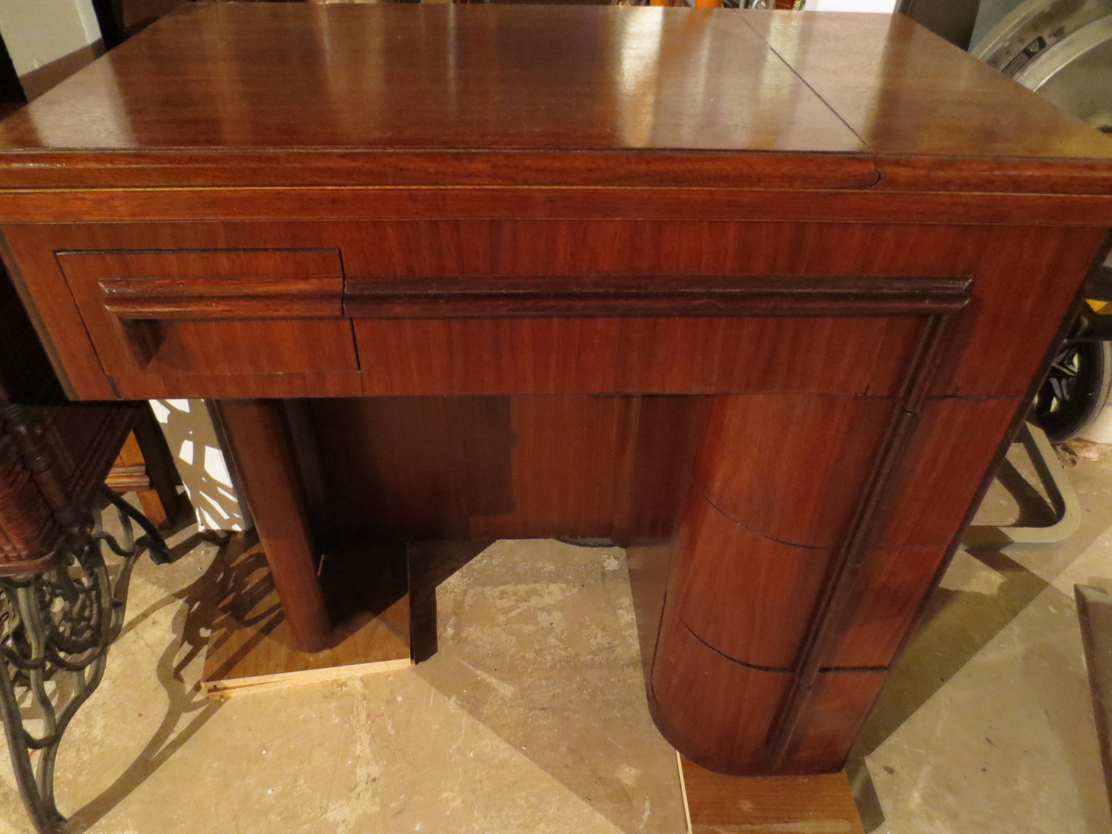Mid 20th Century Walnut Singer Art Deco Sewing Machine Cabinet After