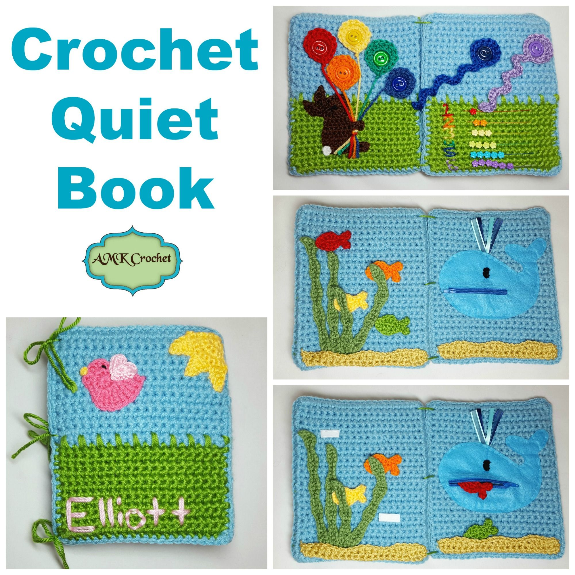 free crochet quiet book pattern educational toy for children to learn using velcro zipper