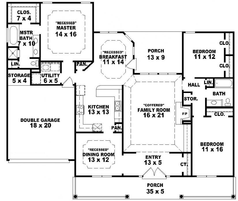 654233 one story 3 bedroom 2 bath southern country farmhouse house plans