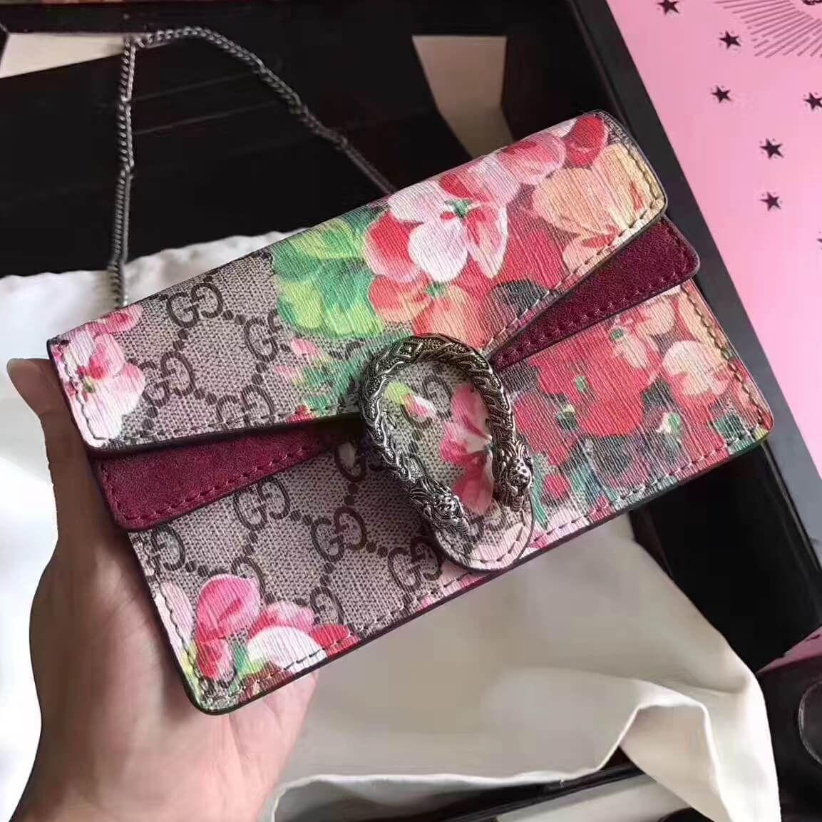 5ccbfa26e5d966 Gucci Dionysus GG Blooms Super Mini Bag | Authentic Gucci Handbags ...