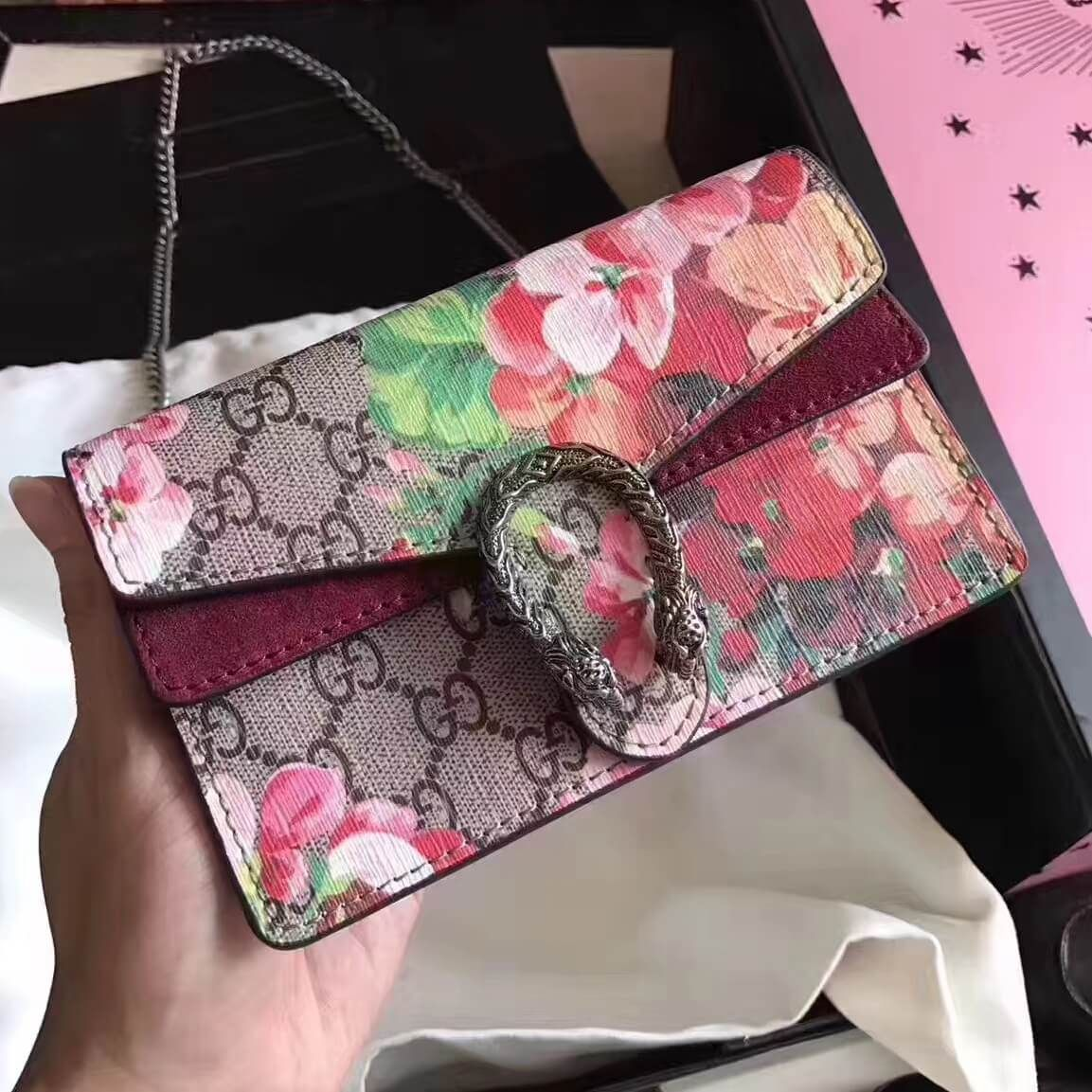 5da020e93 Gucci Dionysus GG Blooms Super Mini Bag | Authentic Gucci Handbags ...