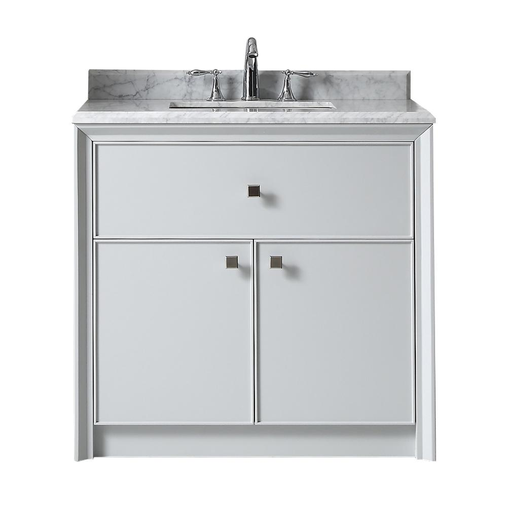 Martha Stewart Living Parrish 36 In W X 22 In D Vanity In Dove Grey With Marble Top In Grey X2f White With White Vanity Bath Vanities Martha Stewart Living
