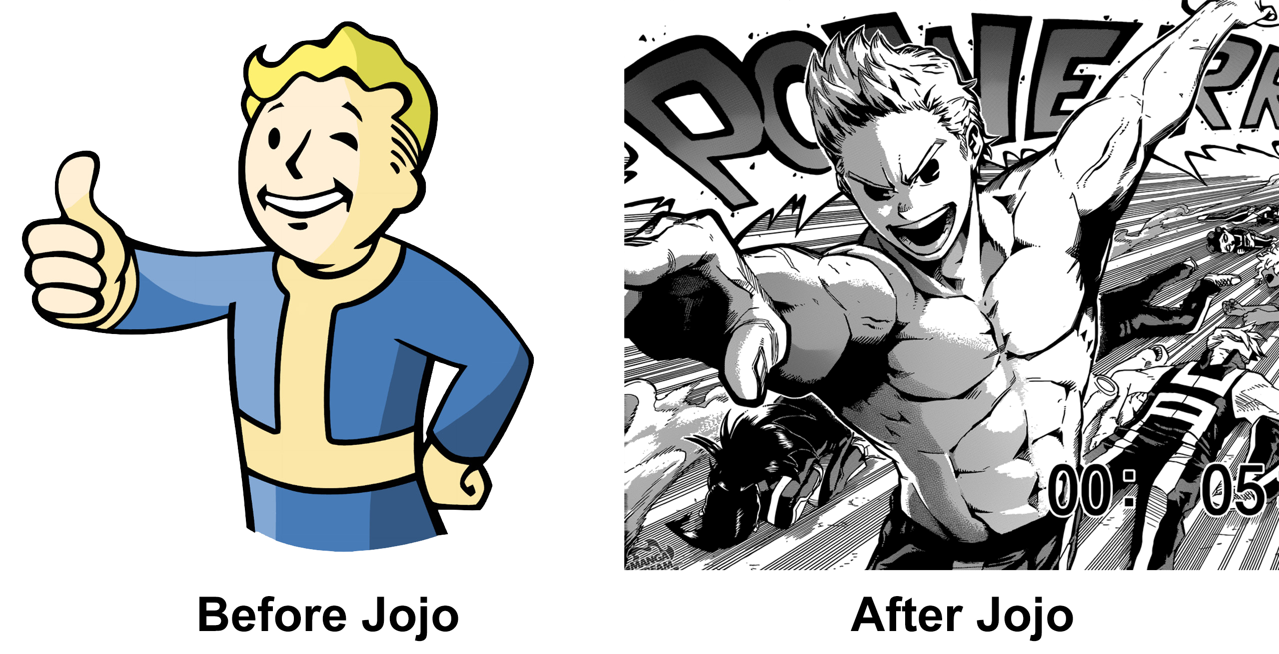 Vault Boy Before and After JoJo's Bizarre Adventure | JoJos
