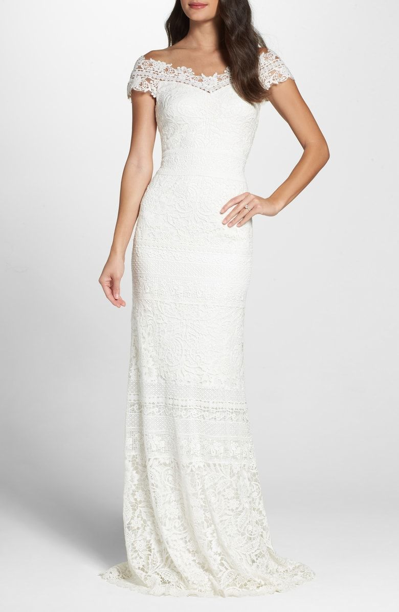 Free shipping and returns on Tadashi Shoji Off the Shoulder Illusion ...
