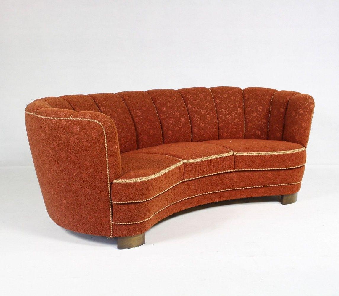 Art Deco Living Room Set: Vintage Art Deco Curved Sofa, 1940s