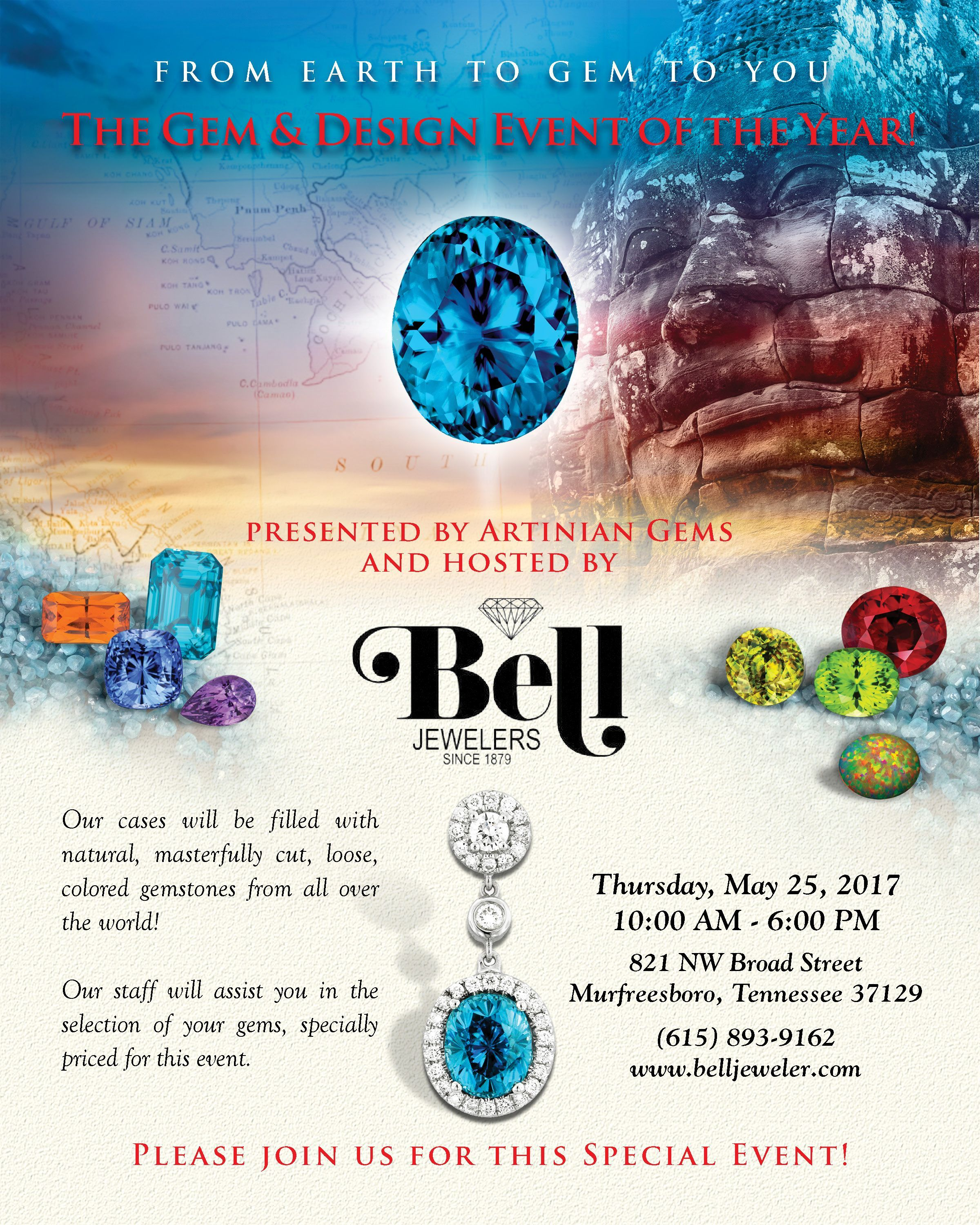 Save the date! Thursday May 25th From Earth to gem to you