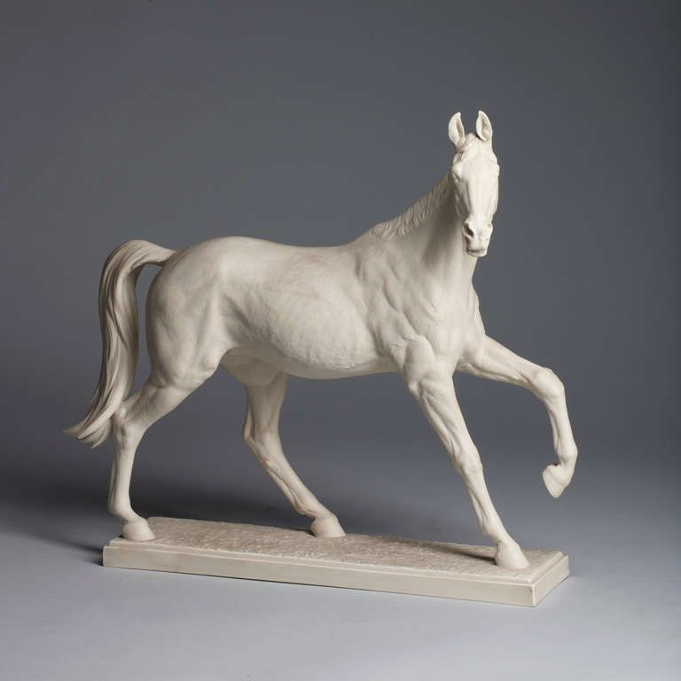 Porcelain Figurine of the Friesian Horse Sculpture