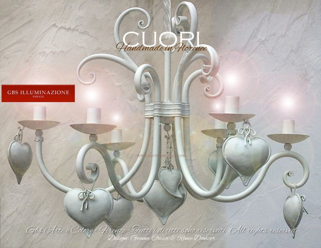 Lampadario Bianco Opaco : White hearts chandelier projects to try lampadario