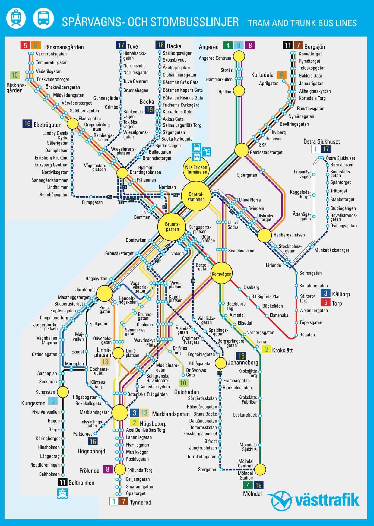 Göteborg spårvagn karta