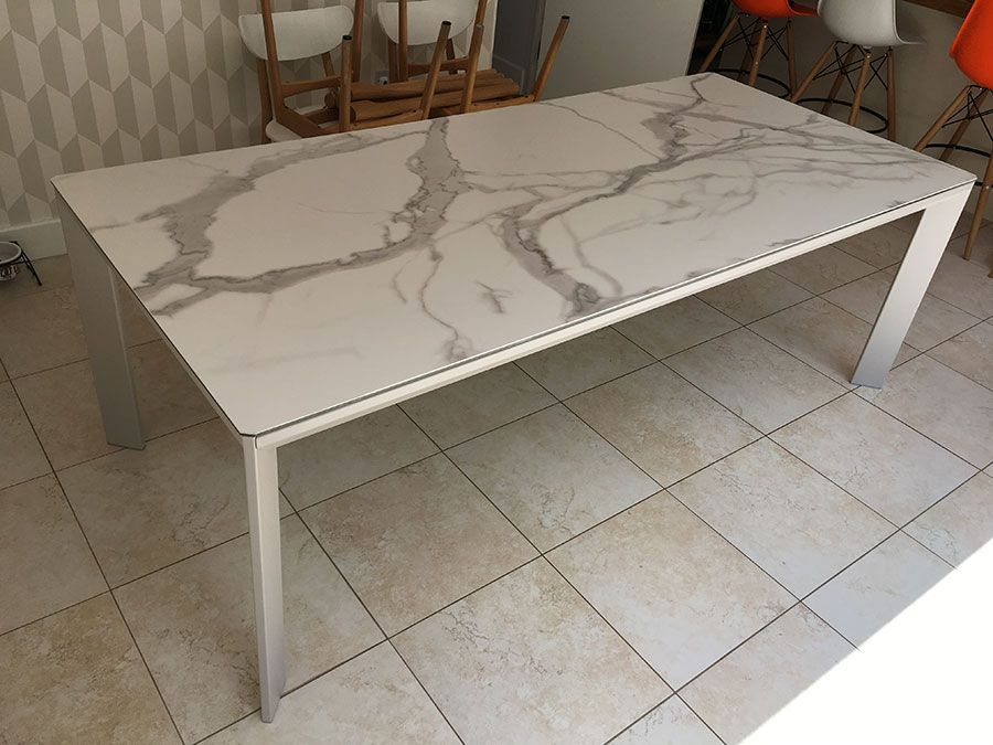 Urban Fixed Ceramic Top Dining Table In Marble