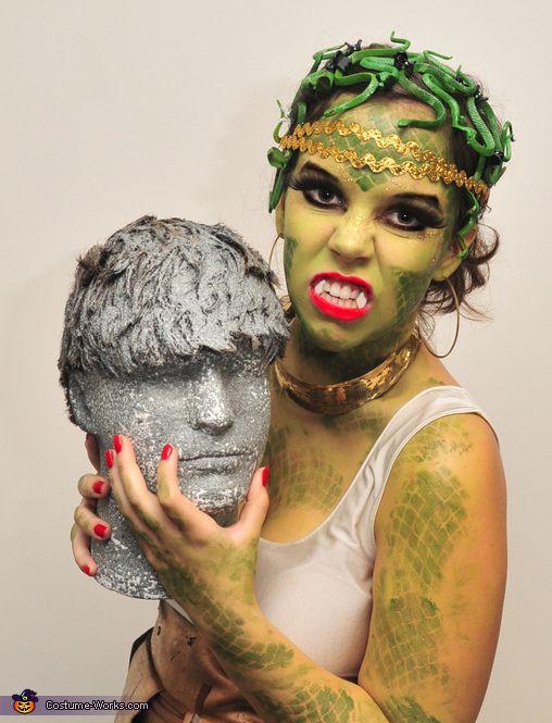 lauren im wearing a medusa gorgon costume complete with my stone man head - Medusa Halloween Costume Kids