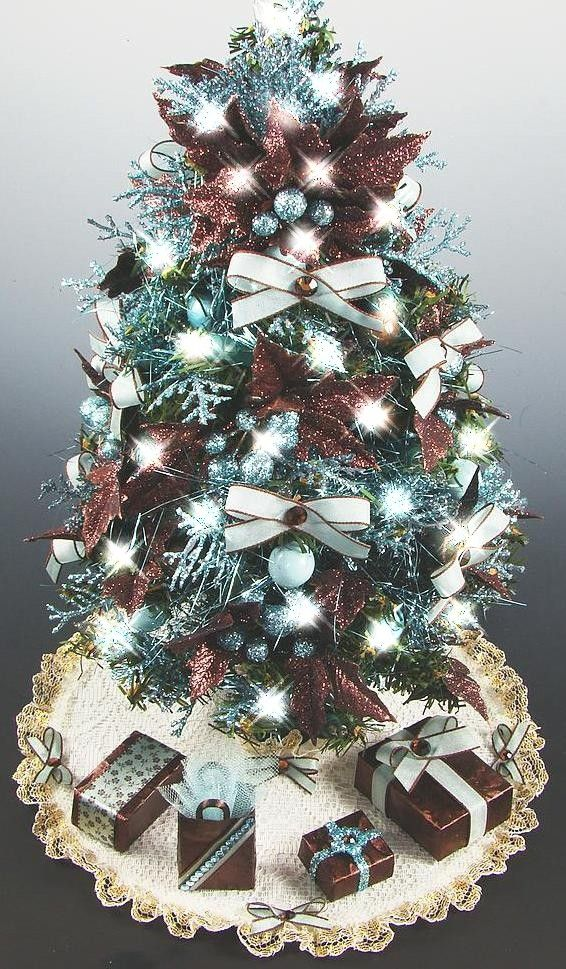 Mini Tabletop Christmas Tree Brown Aqua 12 20 Lights Tabletop Christmas Tree Christmas Tree Miniature Christmas Trees