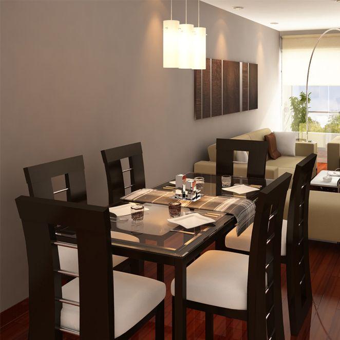 Mesa y sillas tapizadas muebles de comedor pinterest for Departamentos decorados