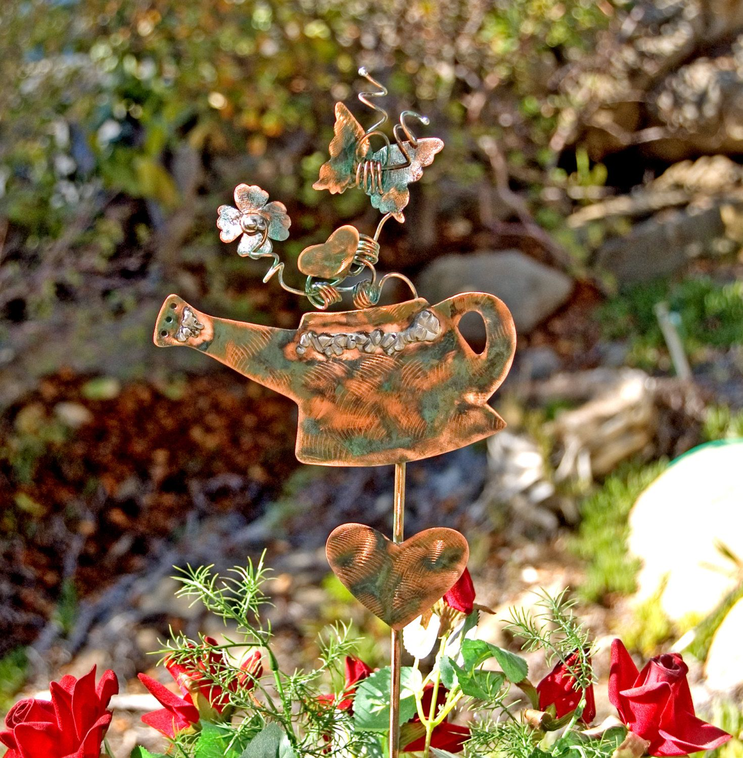 Watering Can Decorative Garden Plant Stake / Outdoor Copper Metal ...