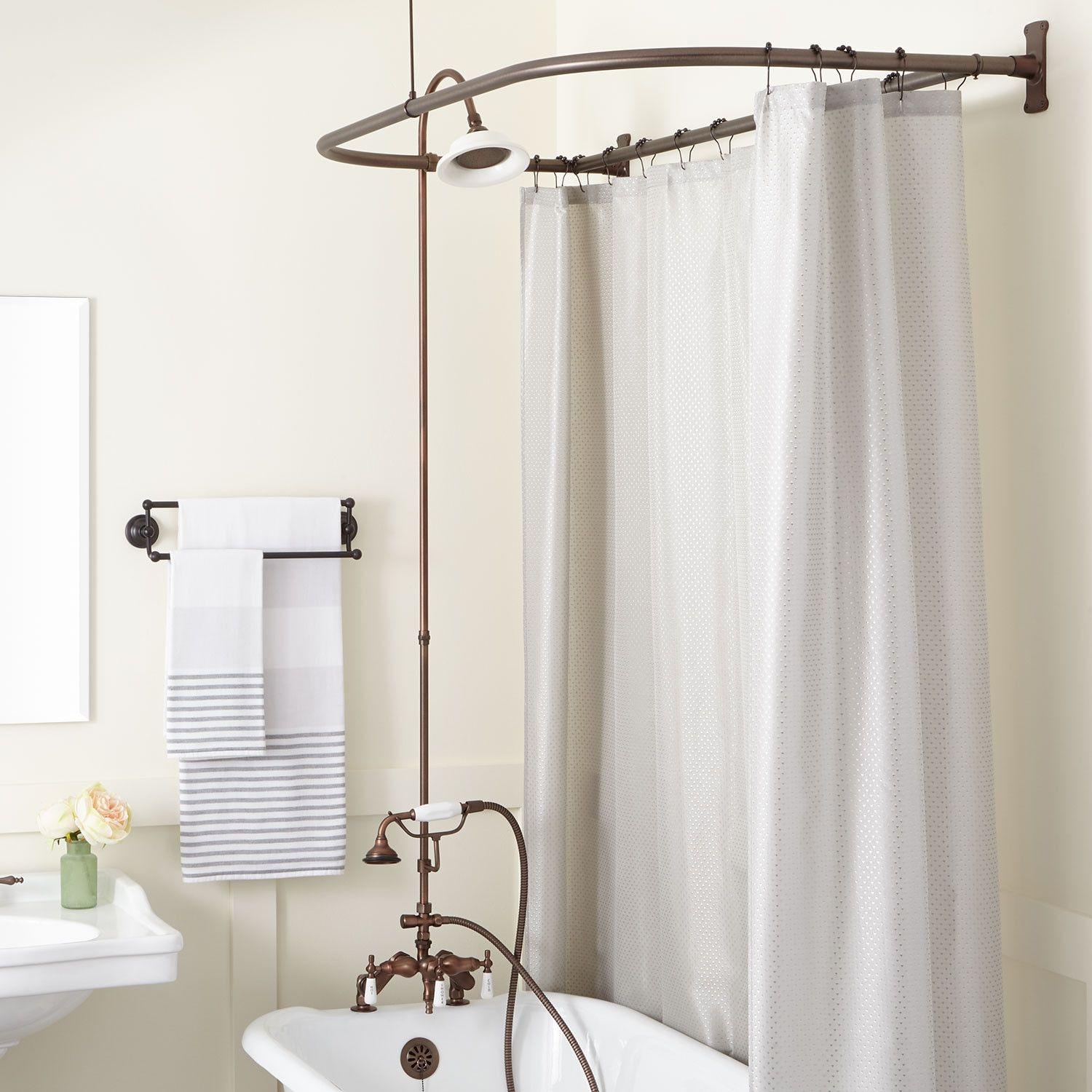 Rim Mount Clawfoot Tub Hand Shower Kit Swing Arms D Style Shower Ring Clawfoot Tub Tub To Shower Conversion Shower Conversion Clawfoot Tub Shower Curtain
