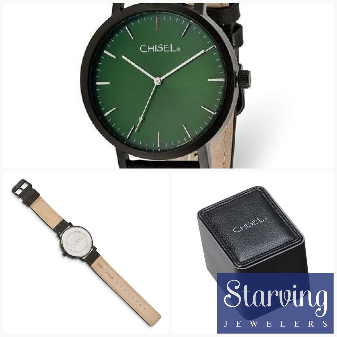 6b88a97b7 Chisel Matte Black IP-Plated Green Dial Watch  newarrivals   newjewelryarrivals