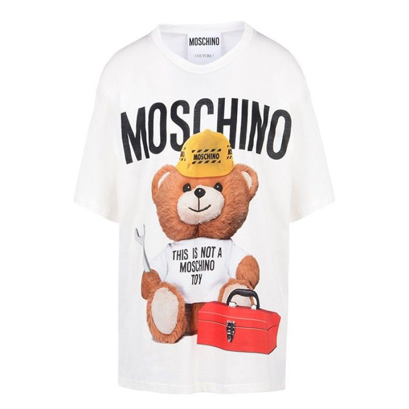 352bd1382bf Moschino Worker Teddy Bear Womens Short Sleeve T-Shirt White | love ...