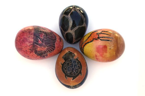 African Hand Sculptured Soapstone Safari Eggs By Globalfindings