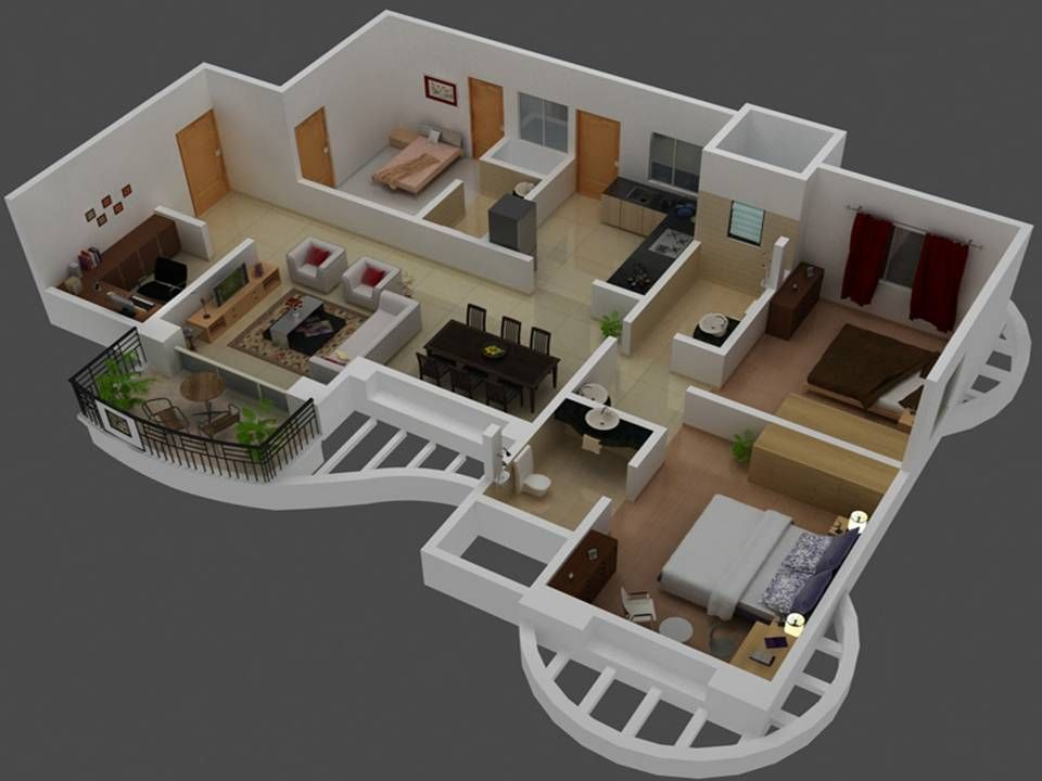 3d small house plans trends with 3 bedroom houseplan for Three room set design