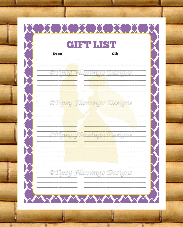 Gift List, Bridal Shower, Gift Registry, Party Game