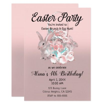Pink brown easter egg hunt spring birthday party card negle Choice Image
