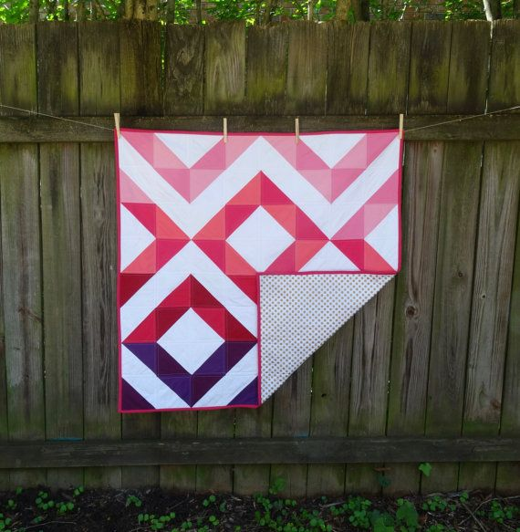 Pink Purple and White Diamond Baby Quilt with gold polka dots by ...