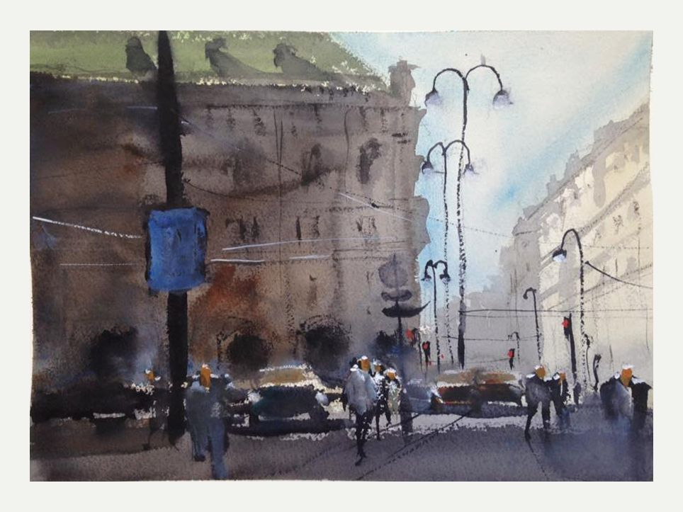 Watercolor on Arches 300g by Barbara von Tannenberg, 38x57cm, Albertina Platz, Vienna, Austria