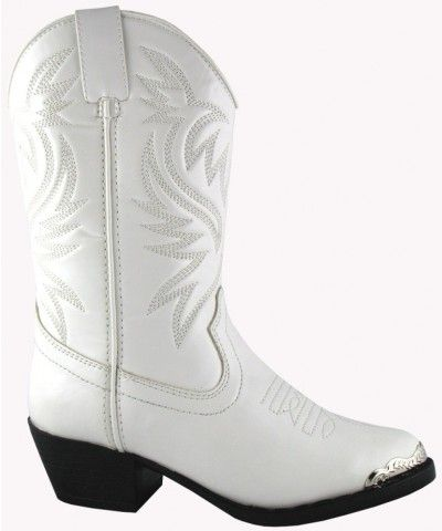 1037Y White Cowboy Boot For Youth
