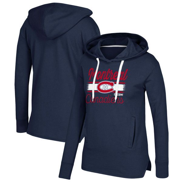 Montreal Canadiens CCM Women s Bottom Stripe Pullover Hoodie - Navy -  74.99 ce347d0d5