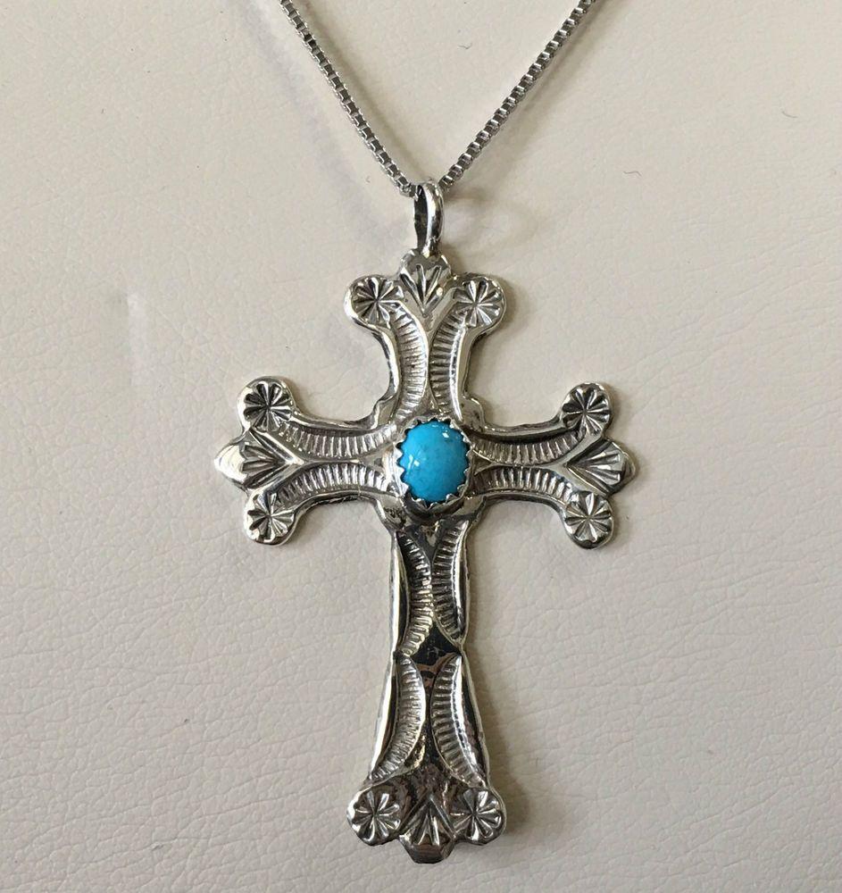 Vintage style sterling silver cross wturquoise u