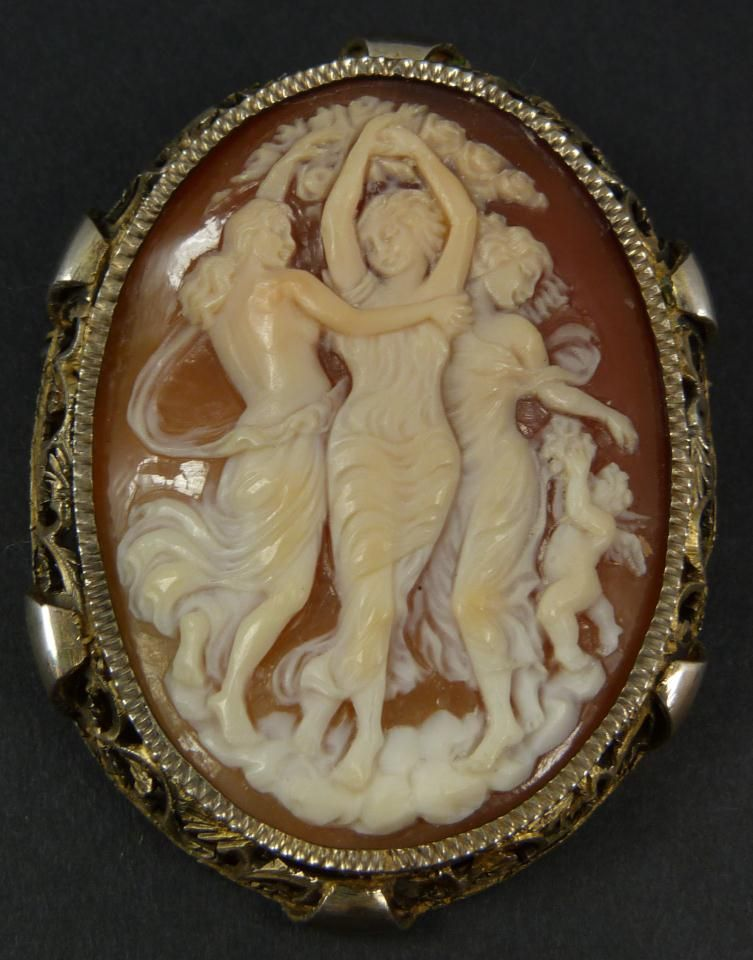 Antique cameo brooch pendant depicting the three graces of antique cameo brooch pendant depicting the three graces of classical mythology mozeypictures Image collections