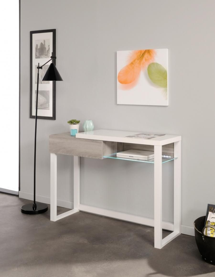 D313 Modern Dining Room Set In White Lacquer Finish: Modern Console Table In Silex Oak And White Gloss Finish