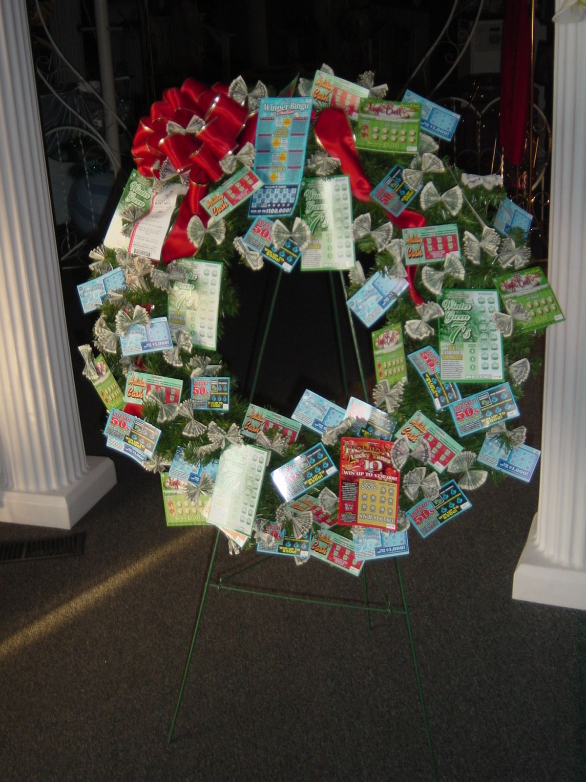 Christmas Lottery Money Wreath Lottery Money Bouquets