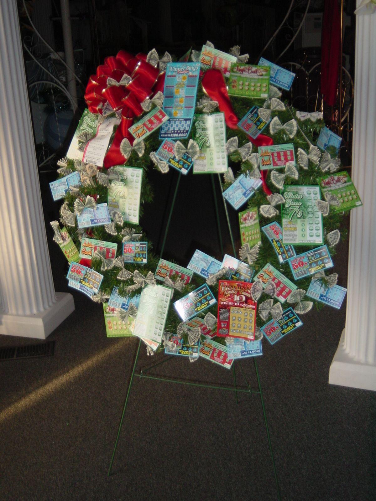 Christmas lotterymoney wreath christmas wreaths diy