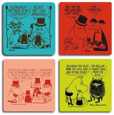 Moomin And The Rich And Impressive Coaster Set By Opto Design Moomin Coaster Set Tove Jansson